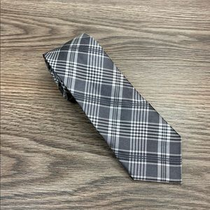 DKNY Grey, White & Black Plaid Skinny Tie